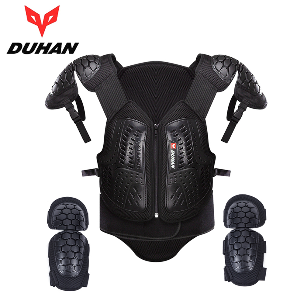 DUHAN Motocross Off-Road Racing Body Armor Waistcoat Motorcycle Riding Protection Jacket Vest Chest Protective Gear Elbow Pads