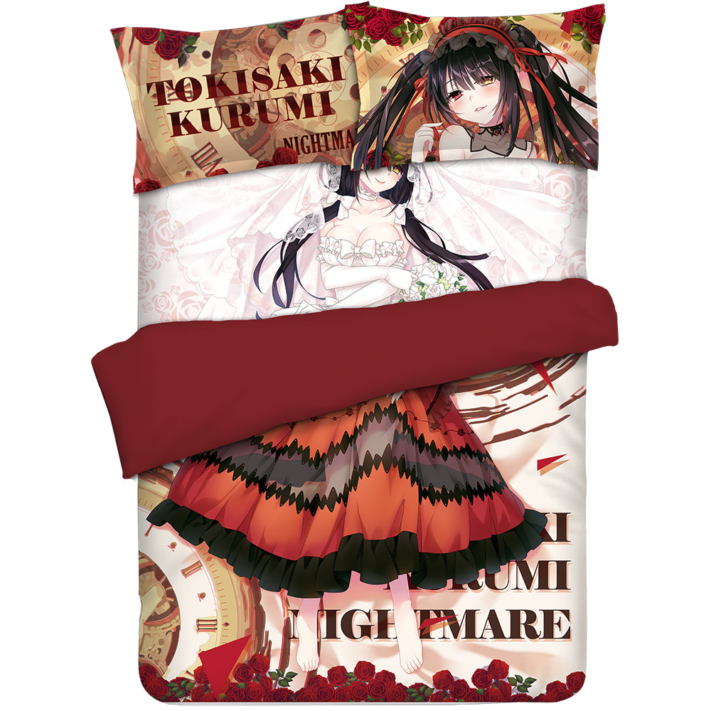 Anime JK DATE A LIVE Tokisaki Kurumi Nightmare Cosplay Cartoon Bedding Comforter Sets Bed Flat Sheet