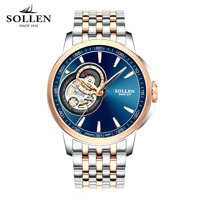 zegarki meskie SOLLEN genuine watches men automatic mechanical watch luminous hollow men's wristwatches waterproof steel belt
