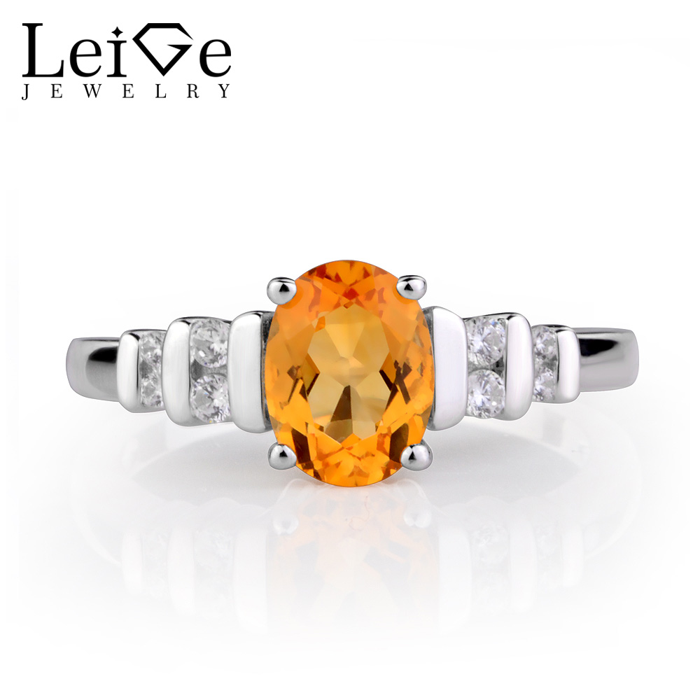 Leige Jewelry Natural Citrine Ring Yellow Crystal Silver 925 Fine Jewelry Oval Gemstone Anniversary Engagement Rings for Women цена 2017