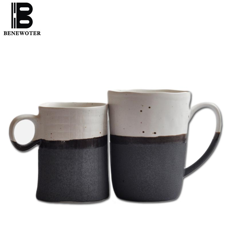 BENEWOTER 250ml 300ml Creative Japanese Ceramic Rough Pottery Tea Milk  Coffee White Ink Black Mug for Lovers Parent's Gift Cup