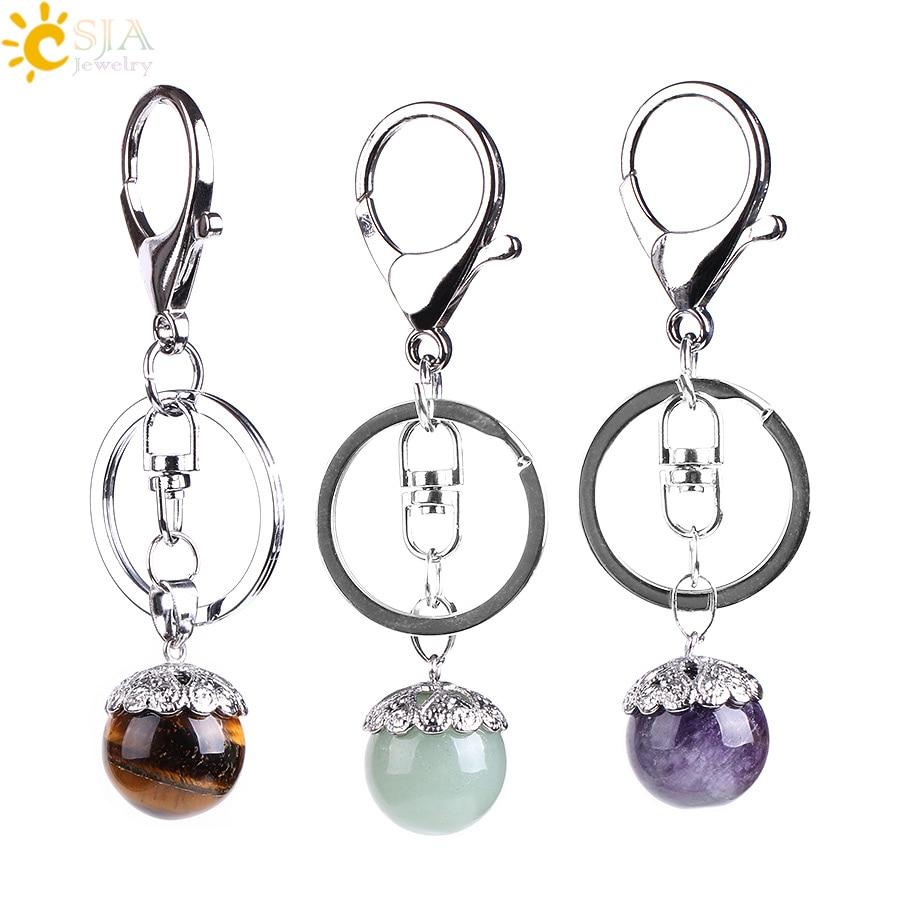 CSJA Natural Stone Metal Car Keychain Opal Lapis Lazuli Pink Quartz Flower Ball Pendants Key Ring Holder Keyfob For Handbag E821