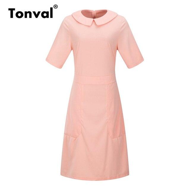 7449d9619f Aliexpress.com : Buy Tonval Peter pan Collar Office Lady Pink Dress Half  Sleeve Plus Size Women 5XL 6XL Dresses 2017 Big Size Work Dress from  Reliable ...