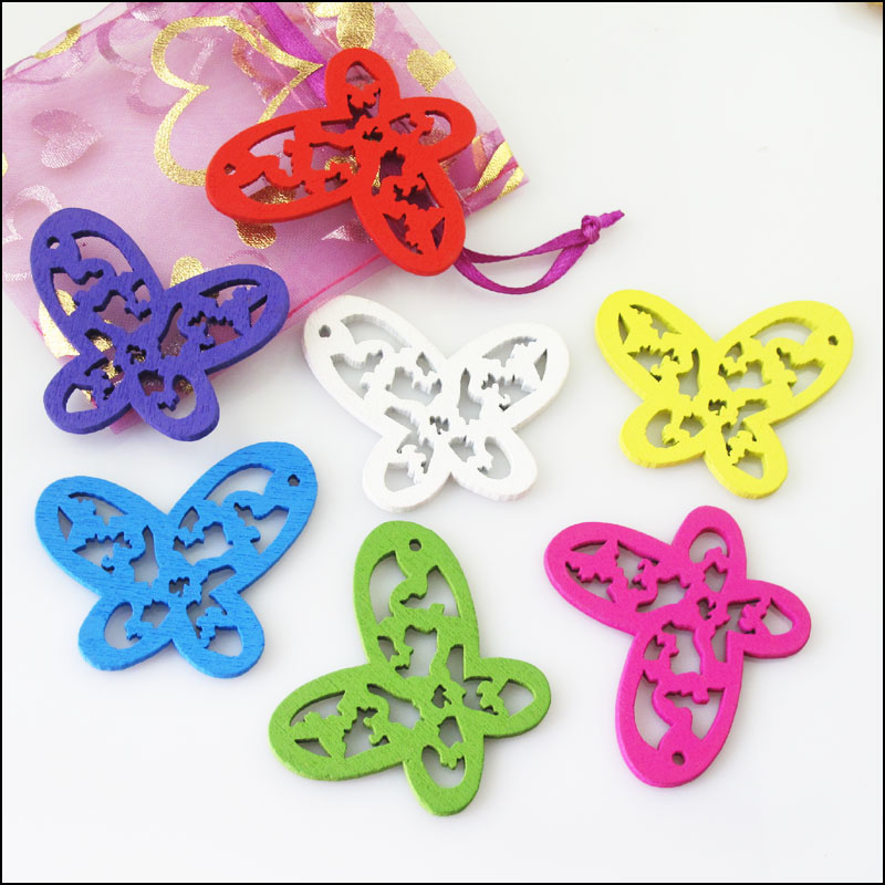 New 10Pcs Mixed Craft Wood Wooden Flower Butterfly Charms Pendants 42x48mm