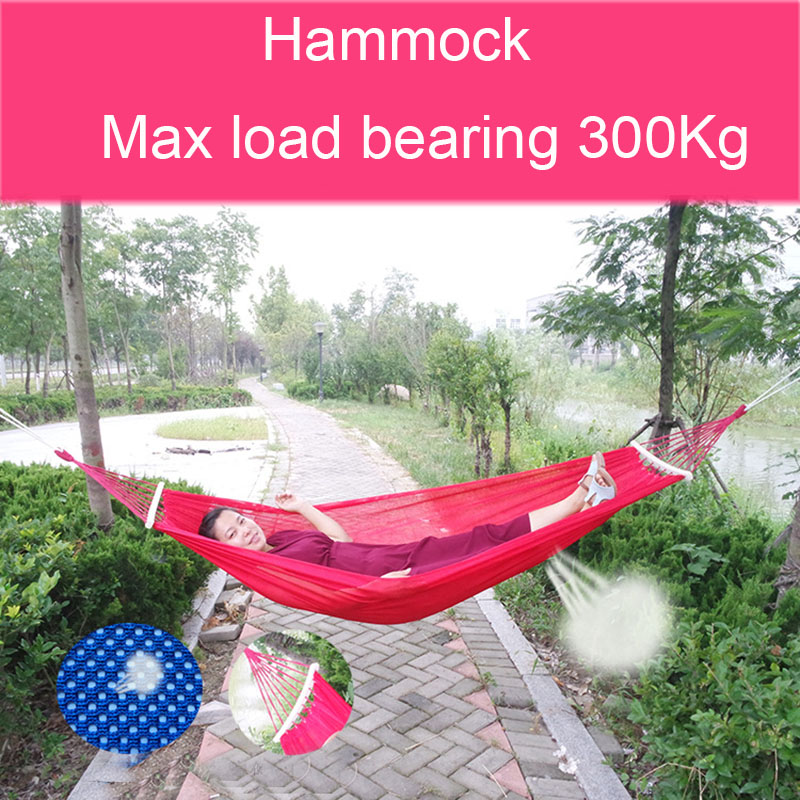 Polyester Net Camping Double Hammock Durable and Super Load Bearing 300Kg Hammocks Like Parachute for Traveling Bushwalking thicken canvas single camping hammock outdoors durable breathable 280x80cm hammocks like parachute for traveling bushwalking