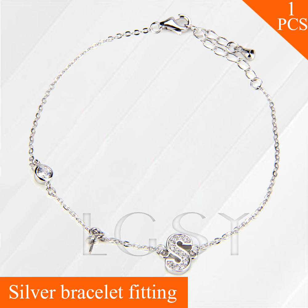 LGSY women jewelry 925 sterling silver bracelet fitting with pearl seat letter S lobster clasps charm
