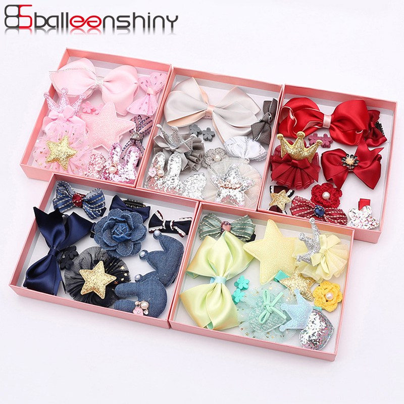 BalleenShiny 10PCS Headwear Set Baby Girls Bowknot Crown Hair Clip Princess Headdress Cute Head Rope Children Fashion Accessory 10 pcs baby headdress set girl headband baby supplies bow knot hairpin hair accessories hair rope headwear hair clip crown