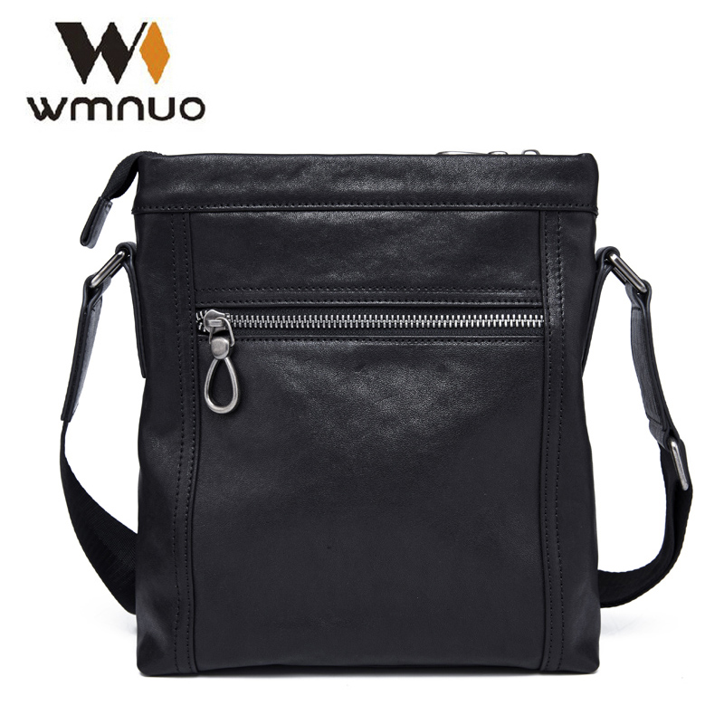 Wmnuo Men Handbag Crossbody Bag Genuine Cow Leather Soft Shoulder Bag 2018 New Fashion Men Designer Messenger Business Bag 9803
