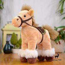 Plush Stuffed Animals Toys Simulation Horse  Doll Plush Kids Toys  Gift   Saddle Pony Dolls