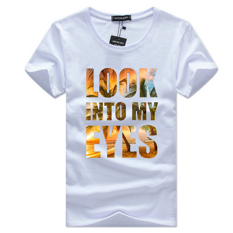 LOOK INTO MY EYES 2017 New Beach Fashion  Printed Men T shirt Short Sleeve Casual t-shirt Hipster Fractal Pattern tees Cool Tops