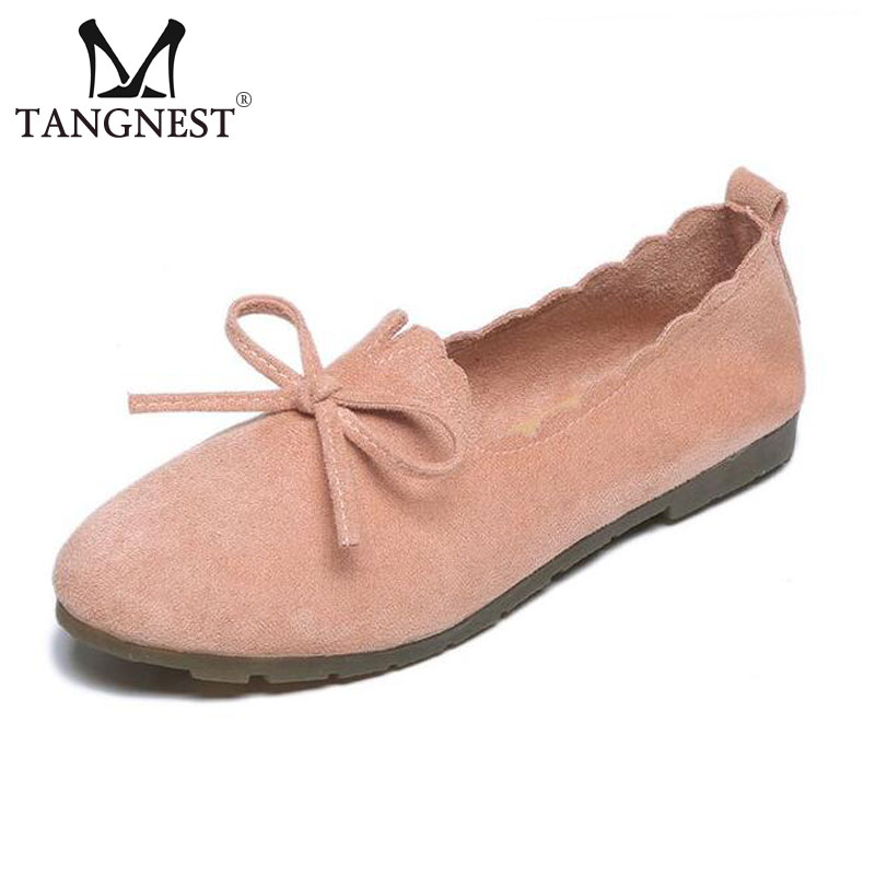 Tangnest NEW Faux   Suede     Leather   Flats Women Round Toe Butterfly-knot Loafers Female 4 Colors Slip-on Flat Shoes Big Size 40