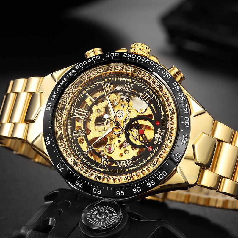WINNER Men Automatic Mechanical Watch Fashion Skeleton Self Winding Watches Men's Luxury Golden Wristwatch Male Waterproof Clock