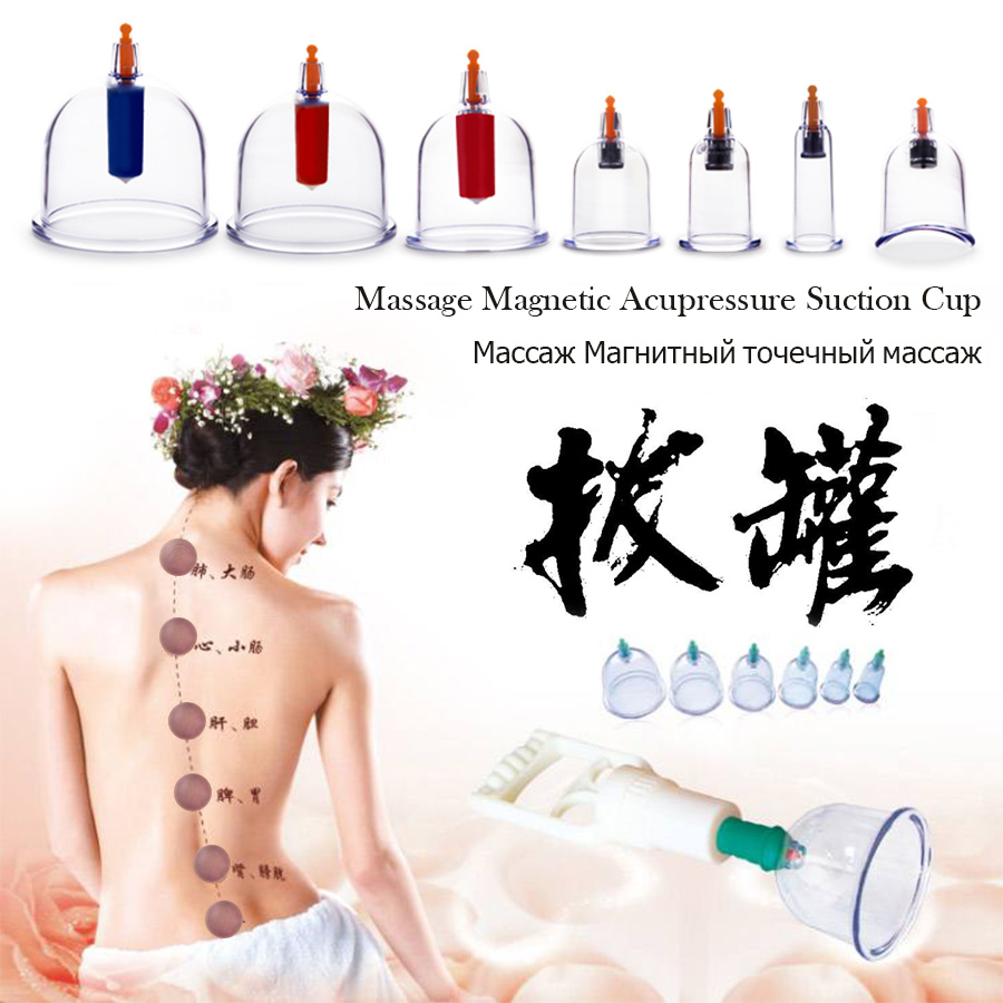 TCM Vacuum Tank Cupping Set Hijama Therapy Anti Cellulite magnetic aspirating body massage can Acupressure Suction Cup+Scraping 28pcs thickened massage cupping ship from ru silicone chinese vacuum massage cupping therapy suction cup anti cellulite set kit