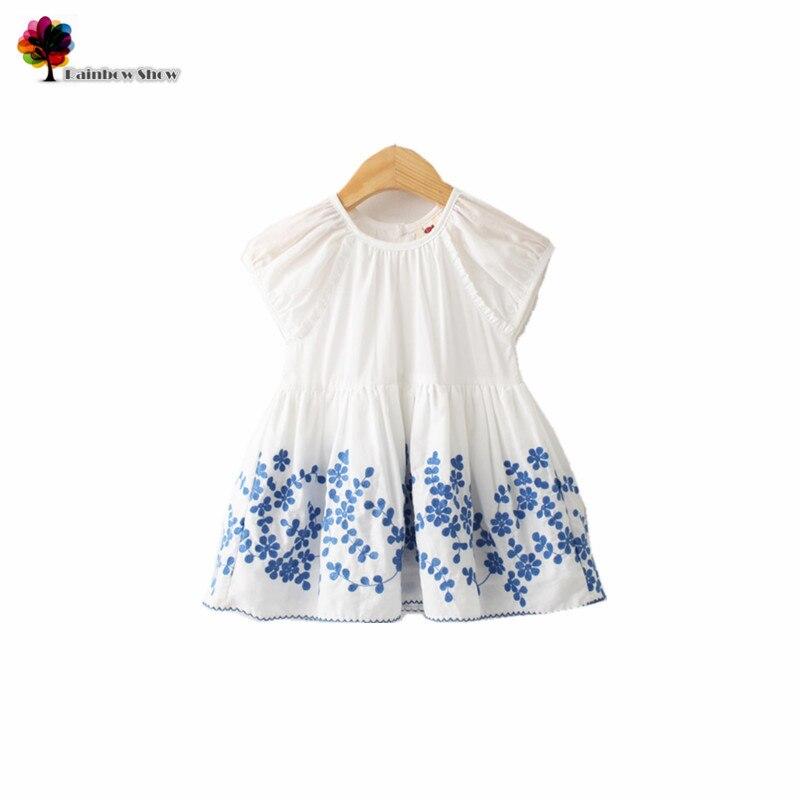 e097bea803cf94 ᗔNouveau Enfants Vêtements D'été Filles Bleu Broderie Florale ...