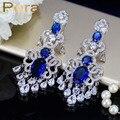 Simulado CZ Diamond Joyería Famosa Marca de lujo Grande Colgando Partido de Las Mujeres Pendientes de Gota Largos Con Royal Blue Cubic Zirconia E239