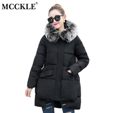 MCCKLE 2017 Winter Women Wool Collar Hooded Jacket Warm Wear High Quality Cotton Padded Outerwear Parka Thickening Wadded Jacket