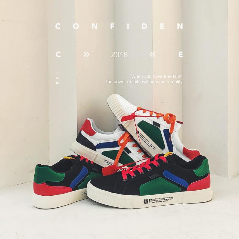 Multicolors Confortáveis Apartamentos Homens Para branco Sapatos Coreano Tendência Da Preto Masculinos De Mocassins Lona Moda Sneakers Skate Casuais Homem Marca 7Owvq71