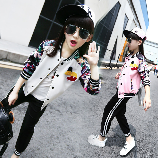 flowers printed autumn tracksuit suits kids pants set girls outfits baseball jackets tops pants active clothes suits for girls