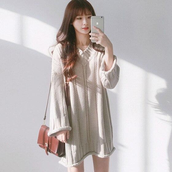 2018 coton Spandex lâche offre spéciale complète limitée Ukraine Zanzea robe Vadim coréen V Joker manches longues fonds pull robe femme