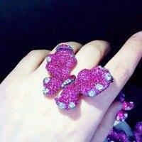 Qi Xuan_Trendy Jewelry_Elegant красивая бабочка Ring_S925 Твердые Щепка Мода бабочка Ringh_Manufacturer непосредственно распродажа