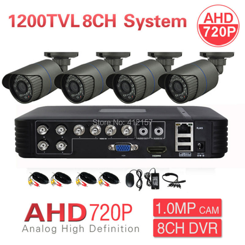 CCTV Outdoor 8CH 1080N DVR AHD 720P 4CH 1200TVL Security Camera System IR Color Video Surveillance Kit P2P PC Phone Mobile View  security cctv outdoor waterrpoof 1200tvl ahd 720p camera system 4ch hdmi hybrid dvr home video surveillance kit p2p mobile view