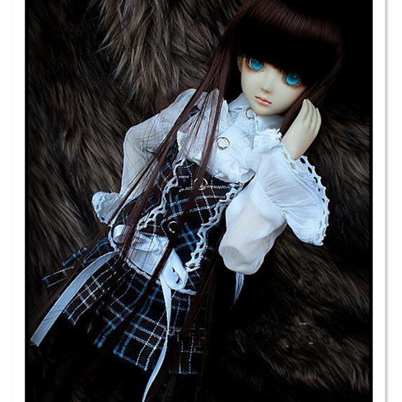BEIOUFENG 1/3 1/4 SD BJD Doll Clothes Include Chiffon Blouse,Jacket and Plaid Skirt,BJD Clothes Dresses for Dolls Accessories 1 3rd 65cm bjd nude doll bazael bjd sd doll boy include face up not include clothes wig shoes and other access