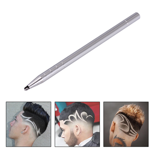 Image 2 - 1 Hair Engraving Pen+10 Blades Hair Trimmers DIY Hairstyle Salon Magic Engraved Stainless Steel Pen Barber Hairdressing Scissors
