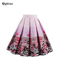 Qybian 2017 fashion faldas Japan style Flowers retro architecture skirts womens summer jupe high waist tutu Pleated skirt