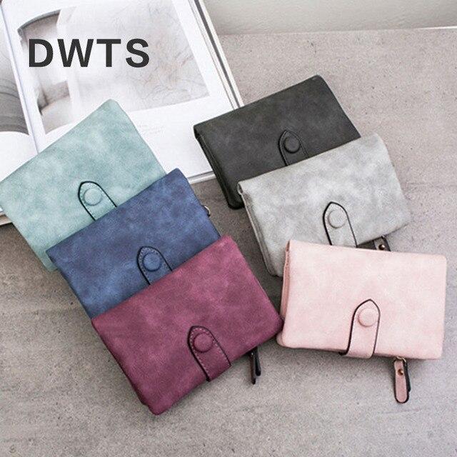 Wallet Female Leather Wallet Matte Wallet Short Cartera Mujer Cute Tri-fold Multi-card Female Wallet 2