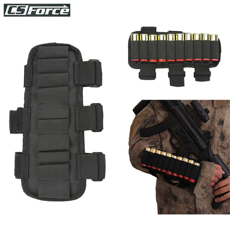 Tactical 10 Round 12 Gauge/20GA Shotgun Ammo Carrier Arm Band Adjustable Mag Pouch Hunting Cartridge Stock Ammo Shell Holder