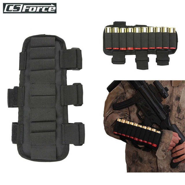 US $4 04 19% OFF Tactical 10 Round 12 Gauge/20GA Shotgun Ammo Carrier Arm  Band Adjustable Mag Pouch Hunting Cartridge Stock Ammo Shell Holder-in