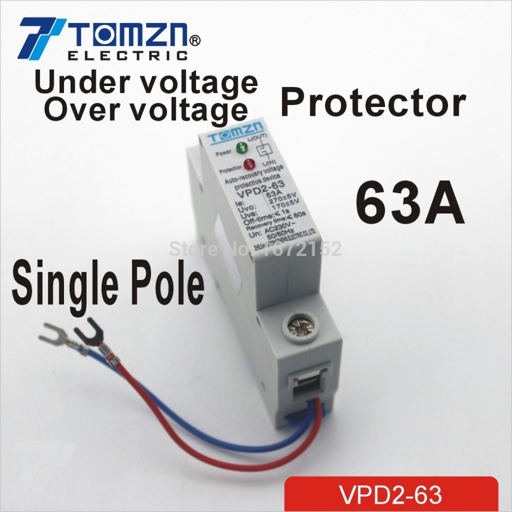 63A 230V Household single pole automatic recovery reconnect over voltage and under voltage protective device protector efficient recovery mechanisms over igp and manet networks