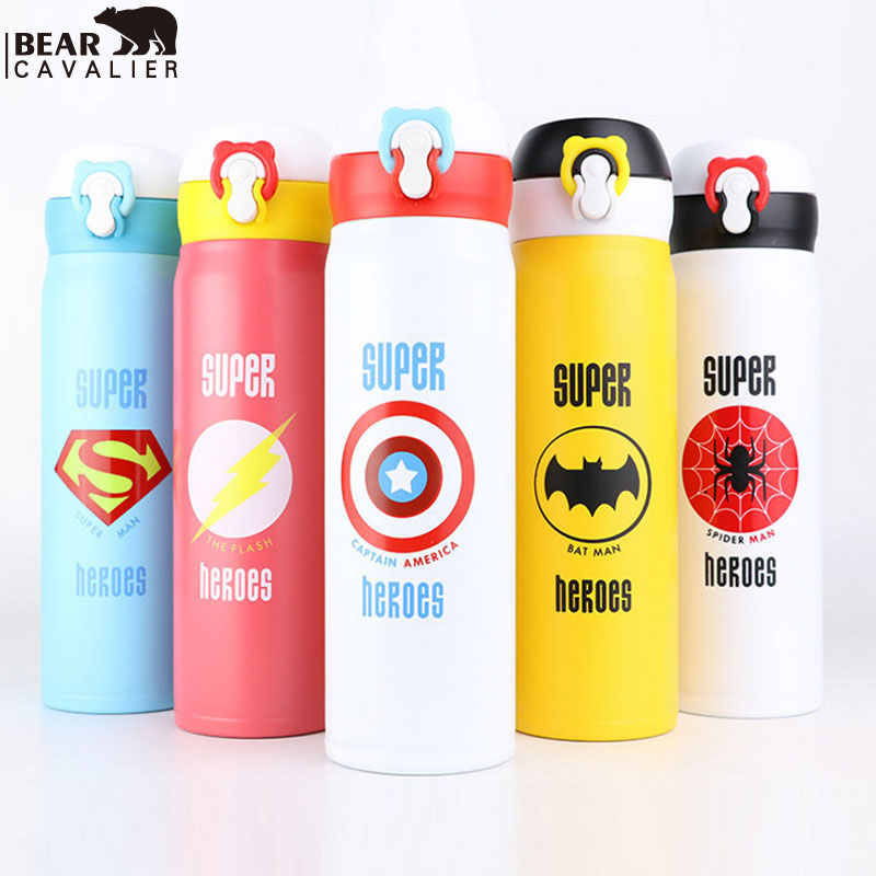 BEARCAVALIER 350 500ML Cute Cartoon garrafa termica thermo Thermos Stainless Steel Vacuum Flask for Kids Girls