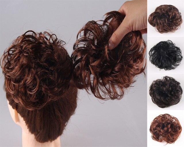 10pcs Lot Lady Hairstyles Short Hair Pieces Elastic Band Curly Fake Hair  Bun Chignons 4 colors free shipping 813080103ab