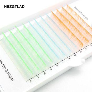 HBZGTLAD-pestañas postizas, nuevo rizador C/D, 8-15mm, gradiente de pestañas en azul, verde, naranja, individuales, extensiones de pestañas postizas de colores