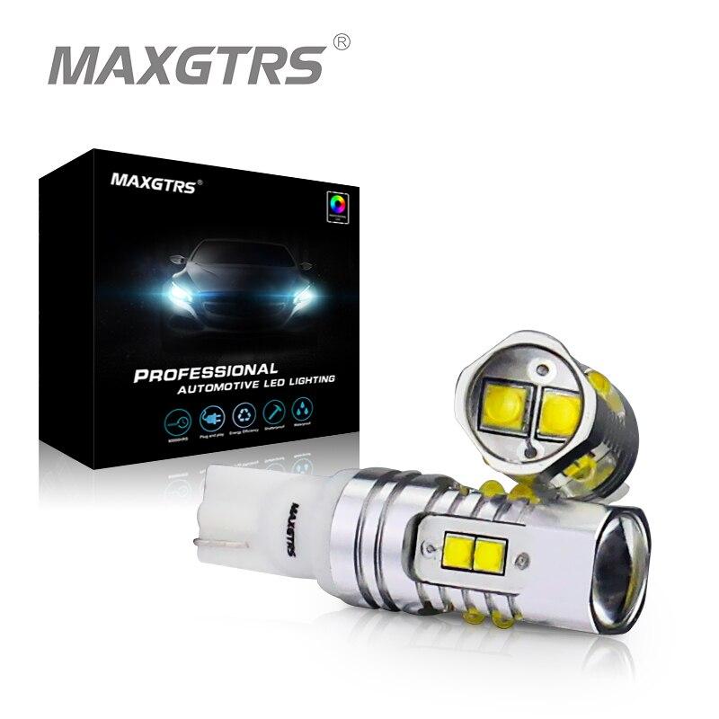 2x T10 194 W5W CREE Chip Led Weiß/Gelb 25 Watt 50 Watt Mit Len Projektor Aluminium Fall Lampen DRL Auto Innen Reverse Lichtquelle