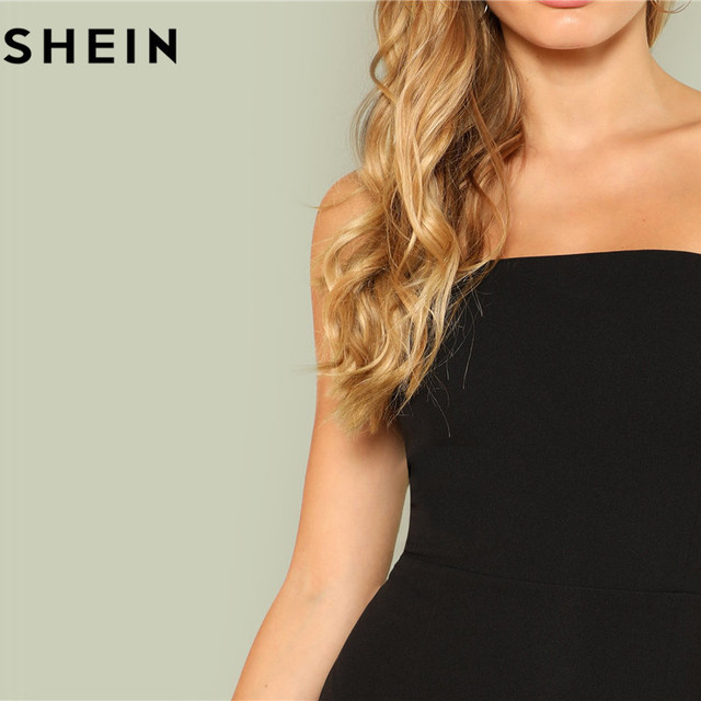 SHEIN Black Sexy Skinny Mid Waist Women Bodysuits 2018 Summer Party Go Out Slim Fitted Plain Sleeveless Strapless Bodysuit New 3
