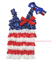4th July Blue White Patriotic Star Red White Lace Baby Girl Romper & Bow NB-3Y MARH138