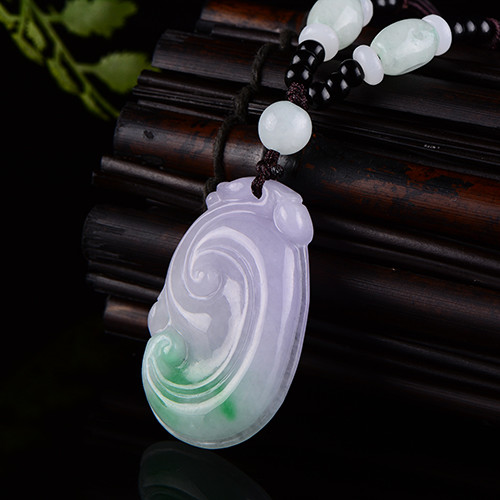 Natural Burmese stone pendant necklace carved double color wishful pendant men and women jewelry JADES jewelry beads