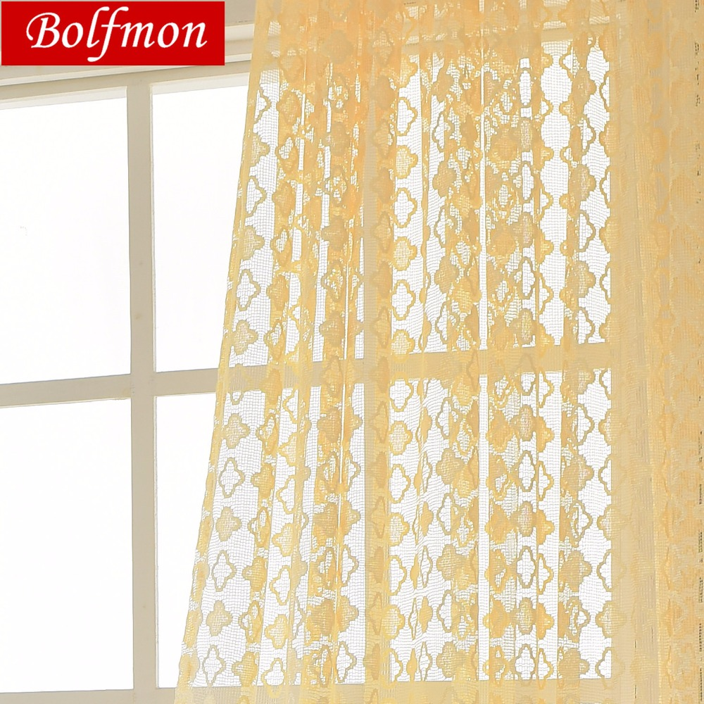 4 Colors Beige Lace Curtain Fabrics Bedroom Window Tulle Voile Kitchen Sheer Luxury Yellow Curtains Doors For Living Room Drapes