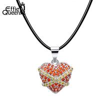 Effie Queen Romantic Red Heart Pendant Necklaces For Women Genuine Leather Rope Chain AAA Zircon Necklace Female Jewelry DN183