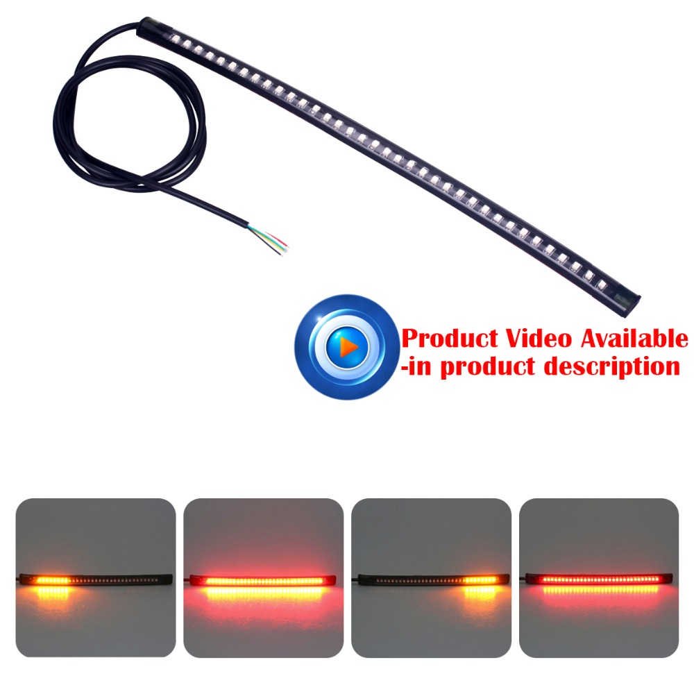 1PC Universal Flexible Motorcycle Light 36 LED SMD Strip Motorcycle Car Tail Turn Signal Brake Lights for Bulb Light Accessories