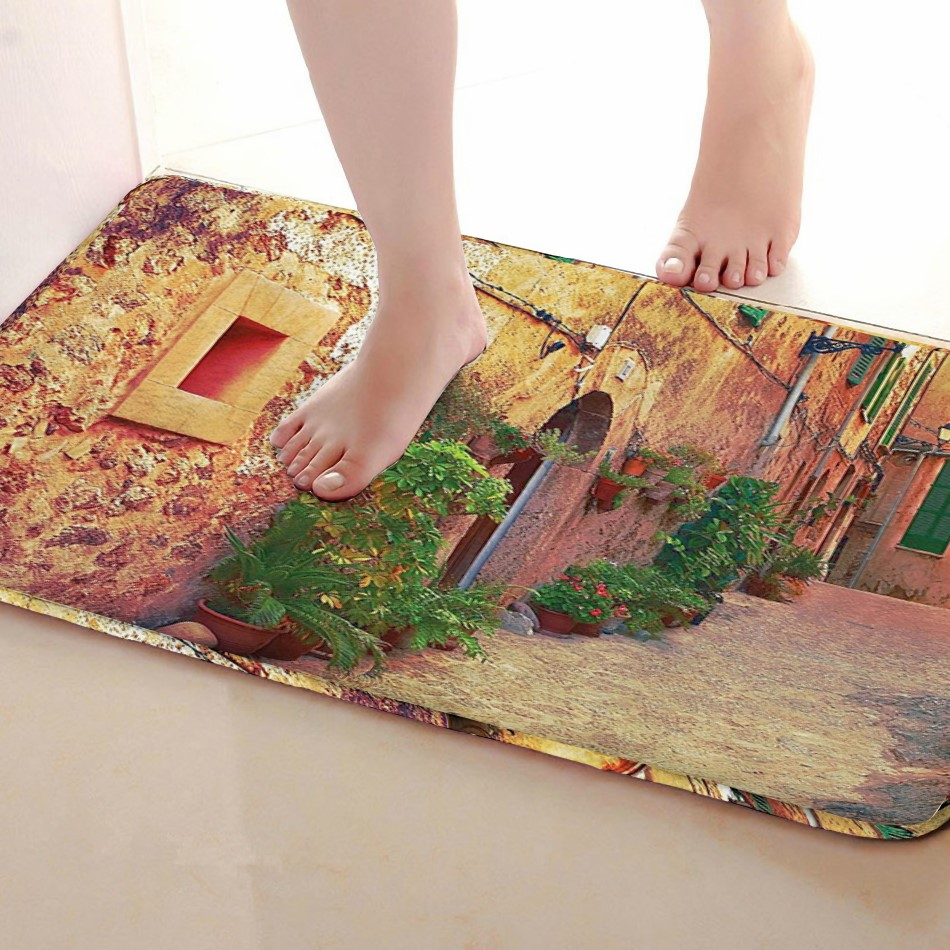 Street Style Bathroom Mat,Funny Anti skid Bath Mat,Shower Curtains Accessories,Matching Your Shower Curtain