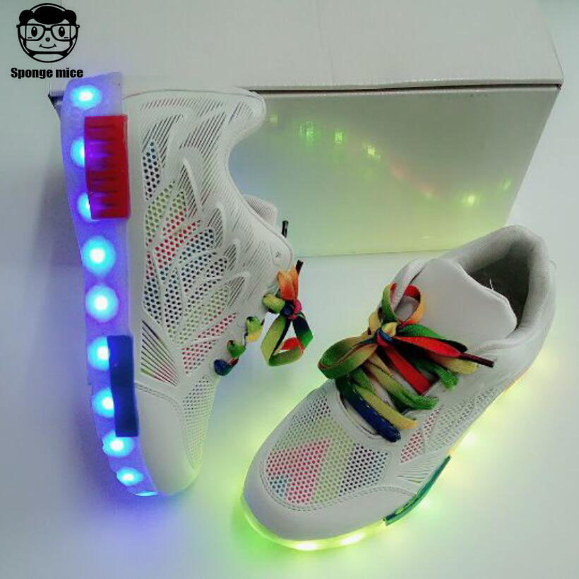 Children USB Charging kids Led shoes adult man women LED Luminous sneakers Casual Boys Girls breathable Sneakers Glowing Shoes 25 40 size usb charging basket led children shoes with light up kids casual boys