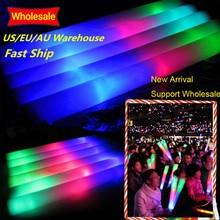 100 Teile/los LED Schaum Stick Bunte Glow Stick Leuchtstoff Glow Rally Rave Jubeln Rohr Baton Zauberstäbe Party Festival Licht Stick