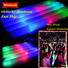 100 pçs/lote led vara de espuma colorido fulgor vara fluorescente rave tubo de animação bastão varinhas festa festival luz vara