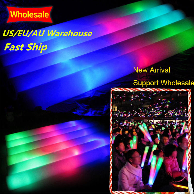100Pcs/Lot LED Foam Stick Colorful Glow Stick Fluorescent Glow Rally Rave Cheer Tube  Baton Wands Party Festival Light Stick