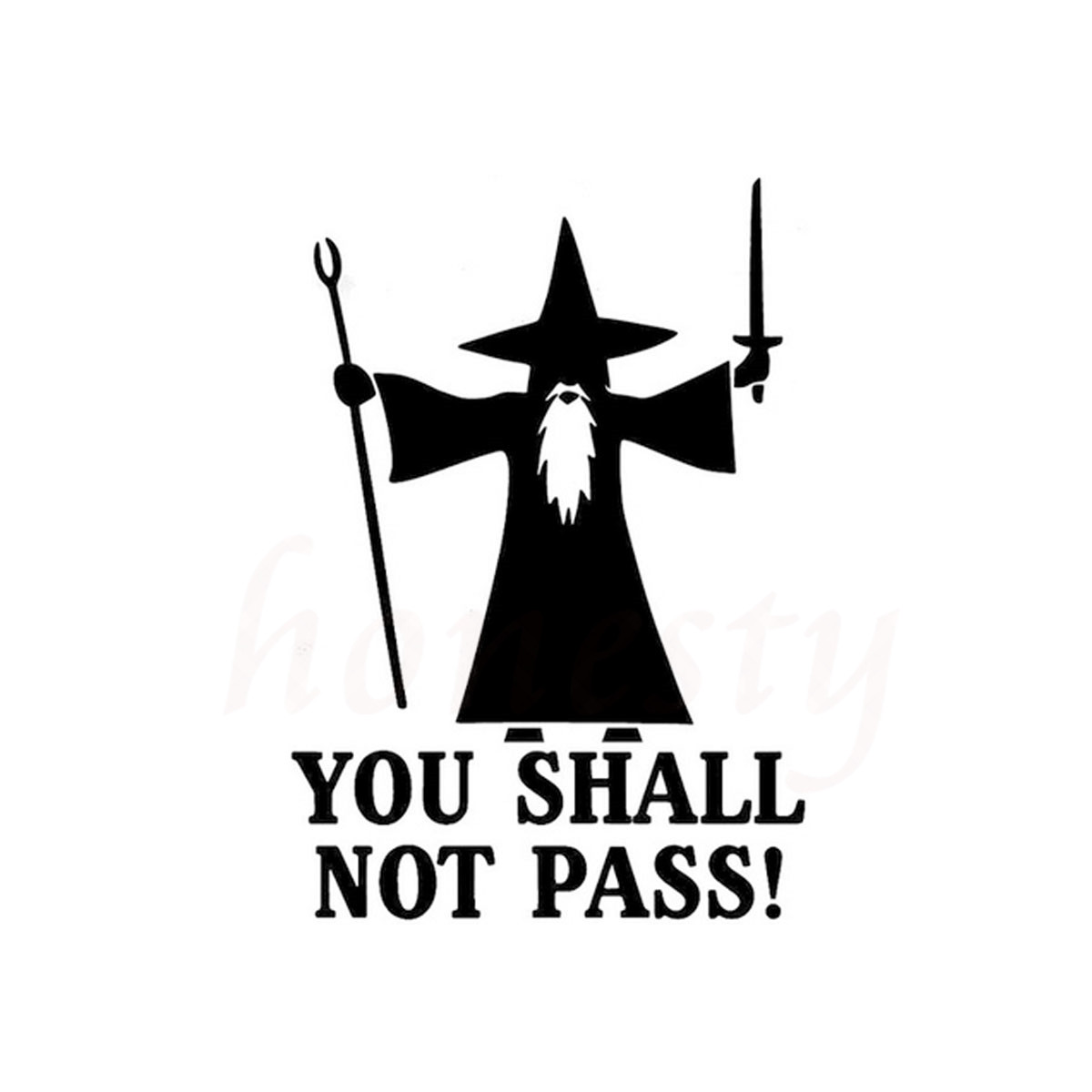 You Shall Not Pass Angry Gandolf Car Stickers Wall Home Glass Window Door Laptop Auto Truck Vinyl Decal Black 11.4cmX16.4cm