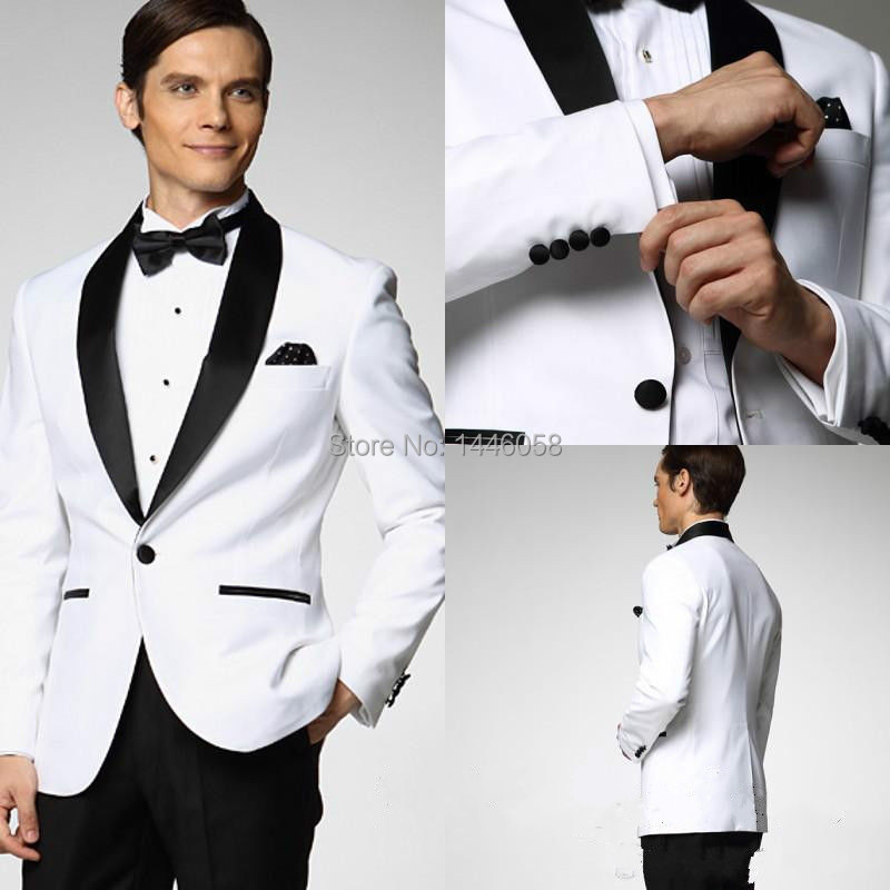 new styles 6337a 5137c US $57.8 15% OFF|Jacke + Pants + Bogen Bräutigam Hochzeit Smoking One  Button Männer Weiß Hochzeit Anzug Schwarz Revers Trauzeuge Trauzeuge  Hochzeit ...
