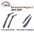 Borracha Brisas Dianteiro/Braço Limpador Traseiro E Lâmina Para Renault Megane MK 2, 2002-2009, Ventosa Escova Acessórios Do Carro Peças de Automóvel